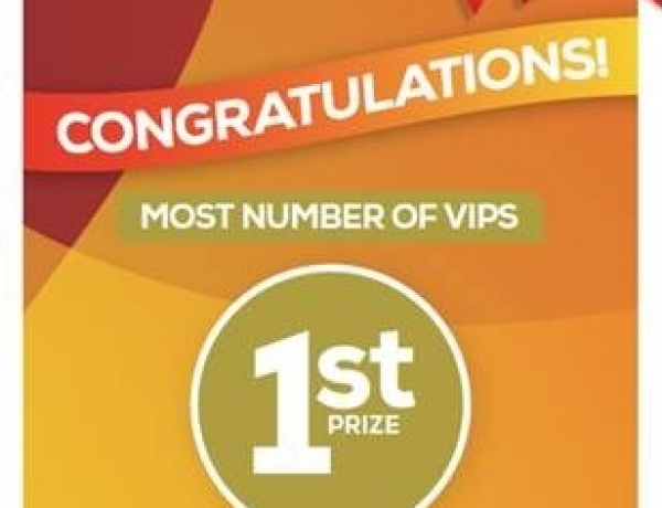 1st place for the Highest Number of Registered VIPs